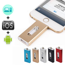 OTG USB-Blitz-Laufwerk für iPhone X/8/7/7 Plus/6/6s/5/Se iPad MetallPendrive HD Feder-Laufwerk des Speicher-Stock-8g 16g 32g 64G