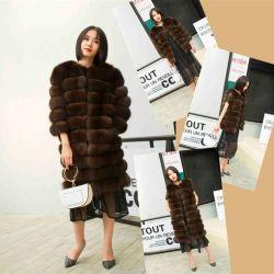 China proveedor multifuncional moda Real Fox Chaleco de pelo largo para la Mujer