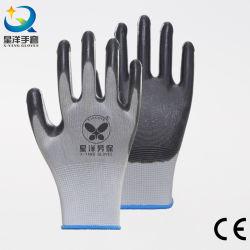 13G weißes Polyester&Nylon Shell mit dem graues Nitril beschichteten Sicherheits-schützenden Arbeits-Handschuh mit CER En388 En420 bescheinigt