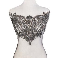 Commerce de gros perlé noir Applique Rhinestone Stone de grandes parcelles de robe de mariée