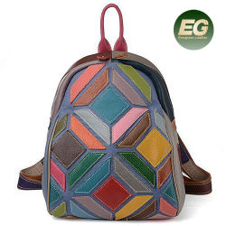 Escuela de diseñador Bolso mochila de cuero Patchwork Guangzhou niña al por mayor bolsos Gga5355
