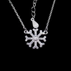 Halsband van het Ontwerp van de Winter van de Ketting van de Gift van Kerstmis van de Stijl van de sneeuwvlok de Zilveren Zoete