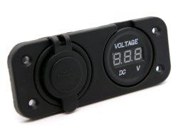 Adaptateur de chargeur double USB étanche avec LED du panneau de voltmètre numérique