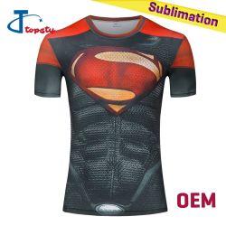 승화에 의하여 인쇄되는 체조 셔츠 전면 주문을 받아서 만들어진 복장 놀라운 일 수퍼맨 3D