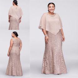 Chiffon noite vestidos Xale livre mãe da noiva Partido Lace vestido Formal Mt043