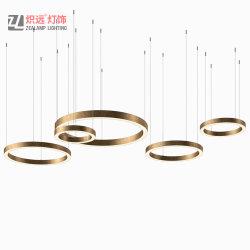 Moderne helle Galerie-Leuchter-einfache Edelstahl-Kreisring-Dekoration-hängende Lampe