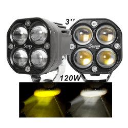 2021 عينة جديدة من IP68 قدرة عالية فائقة السطوع 3 بوصات مصباح الضباب المربع بقدرة 120 واط 24 فولت شاحنة خارج الطريق 4X4 مصباح عمل LED للسيارة بجهد 12 فولت
