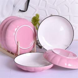 Ménage de 8 pouces la vaisselle en céramique colorée de la plaque de citrouille