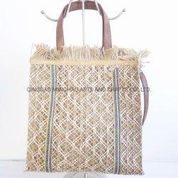 حقيبة تسوق أنيقة جوت حقيبة شاطئ مع مقبض PU طويل