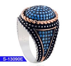 卸し売り新しい到着の方法宝石類人のための925の純銀製のトルコ石の石のリング