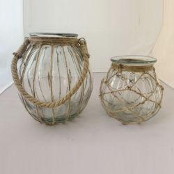 La decoración del hogar de forma redonda spray transparente cristal coloreado colgando linterna con asa de cuerda