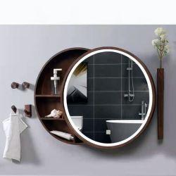 Badkamer Decoratief Smart Wandgemonteerd Houten Multi-Layer LED glazen kast Spiegel voor interieur in huis/hotel/salon/toilet