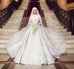 Musulmán de encaje vestido de novia Manga Larga Arabia árabe vestido de novia largo velo hiyab Z9010