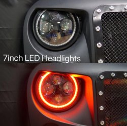 Autopartes 7' ' la luz de giro DRL Anillo Halo persiguiendo a los faros LED Color