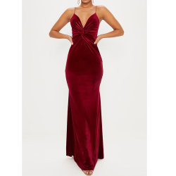 여성용 섹시 에레그트 패션 레드 V-넥 슬리브리스 바디콘 반키 이브닝 긴 드레스