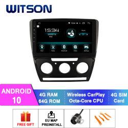 راديو سيارات Wittson Android 10 GPS لسكودا 2010-2014 شاشة فلاش كبيرة رائعة إصدار مكيف الهواء اليدوي سعة 64 جيجابايت