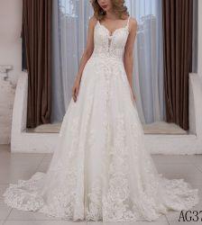 Kundenspezifische Spitze-reales Foto-Hochzeits-Kleid Ld15263 der Strand-Brautkleid-2020
