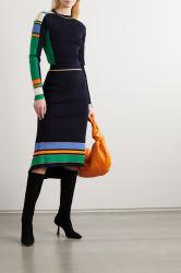 Полосатый ребристую войлочную ленту женщин одежду Cotton-Blend MIDI свитера юбки мода одежды