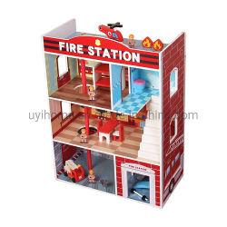 La estación de bomberos rojo casa de muñecas con muebles de 16 uds.