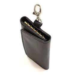 مفتاح سلسلة جلد إضافي للحامل ثلاثي الطي باللون الأسود صغير الحجم المحفظة