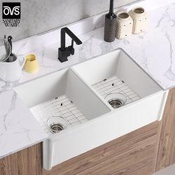 وصول جديد في مطبخ خزفي أبيض خزفي في في الحوض الأمامي المزدوج حوض حمام الحوض