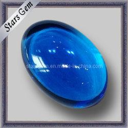 توباز طبيعيّ [سويسّ] زرقاء [كبوشن] بيضويّة [سمي] جدّا