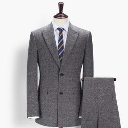 最新のファッションビジネスミーティンググレーウーレンコートパンツメンズスーツ