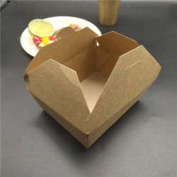 Jetables en papier kraft brun de l'emballage Salade de fruits de fast-food à emporter Sushi Lunch Box de papier peut être personnalisé rectangulaire en une variété de formes