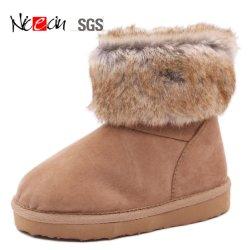 Дешевые снег Sheepskin холодный коричневый Furry короткое замыкание в реальном мех Boot