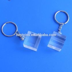 3D Blank Transparent Key Rings、Cube Pendant Key Chain