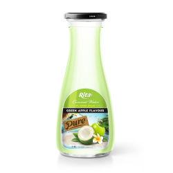 acqua della noce di cocco della bottiglia di vetro 1L con il succo di mele verde