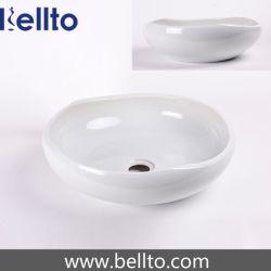 Navire unique bassin artisanal en porcelaine avec glaçure wihte couleur (C-1072)