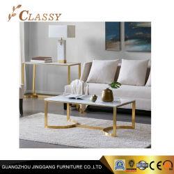 D'ameublement haut de marbre Rectangle Golden Table à café de base