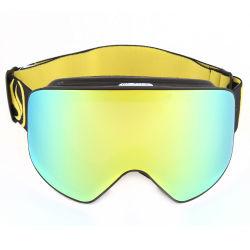 Stock de recubrimiento de oro dos lentes PC desmontable de casco de carreras de esquí de la moda anti niebla Rimless adecuado orden pequeñas gafas Snowboard