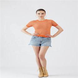 Pulôver mulheres manga curta suéter