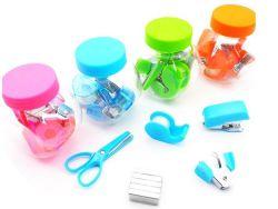 Suministros de oficina Papelería Regalos Promontional colorido viaje Mini Grapadora Papelería Set 5 en 1 Kit