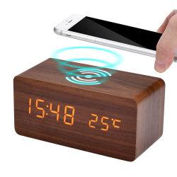 Индикатор цифровой деревянные будильник с беспроводной зарядки телефона