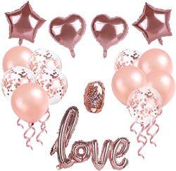 La madre día parte Suplies Kit, incluyendo las decoraciones globos de corazón, Pentagram globos, Confetti globos para bodas aniversarios proponer Despedida de soltero Mo