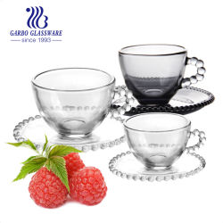 Großhandel China Glas Lieferant Classic 7oz Teegläser Gold klar Kaffee Trinkglas Tasse und Untertasse Set