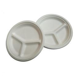 3 scomparti piatto rotondo zucchero di canna bagasse carta polpa piastra e. Piatto