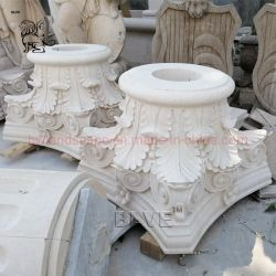 블브 하우스 디자인 손 조각품 스톤 필라 헤드 화이트 대리석 로마 칼럼의 수도
