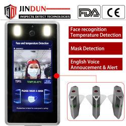 7 inch LCD-scherm voor gezicht en temperatuurherkenning Thermische camera met kaartlezer en infraroodscanner