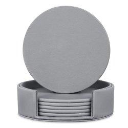 セットの灰色の丸型刻まれたPUのコップのマットののどの革コースターごとの6PCS