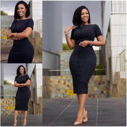 패션 썸머 의류 여상 이브닝 의류 클럽 버튼 단색 아프리카 여성을 위한 드레스
