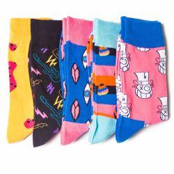 Adorável Gato Tripulação de algodão confortável personalizado feliz homens meias