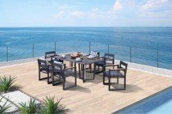 Châssis en aluminium de loisir populaire moderne Textilene Rop en bois de teck Set de meubles de salle à manger en plein air de l'accoudoir