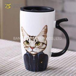 600 мл керамические большой емкости для приготовления чая и кофе Cute Cat чашки с силиконовой обложки 16oz кружки из Китая