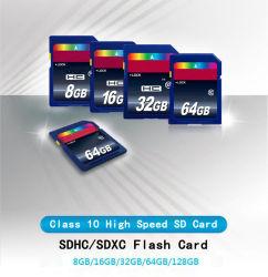 Venda por grosso de cartão SD 64GB, 32GB, 16GB 8 GB de memória Flash de Classe 10 Cartão SDHC de alta velocidade de cartão SDXC C10 para câmaras DSLR