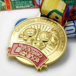Comercio al por mayor barato en 3D personalizado Diseña tu propia nave de metal de aleación de Zinc blanco correr la maratón de metal dorado Premio recuerdos medalla para regalo de promoción del deporte