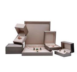 Dessin de haute qualité couleur or boîte à bijoux, pu l'anneau en cuir Boîte boîte bracelet, poignée de commande, case à cocher, NECKLACE, haut de gamme et élégante boîte à bijoux